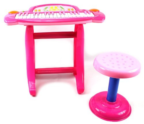 Little Rockers Deluxe Childrens 36 Keys Toy Piano Keyboard W/ Microphone & Chair (Pink) Records & Plays Back Your Little Ones Music