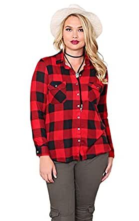 styles for less s plus basic plaid top at