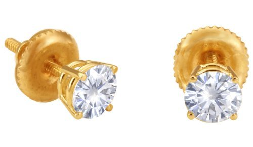 Spectacular! 14k Yellow-gold Pair 4.00mm each (1/2 CT TW) Round Moissanite Stud Earings by Vicky K Designs
