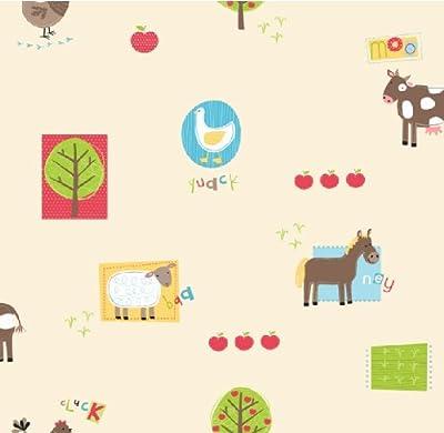 Hoopla Farm Animal Bird Apple Tree Children Bedroom 10m Wallpaper Roll Decor Art from DECORLINE