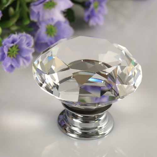 Floureon® 8Pcs Diameter 40Mm Clear Crystal Glass Cabinet Knob Cupboard Drawer Pull Handle, Come With 3 Kinds Of Screws
