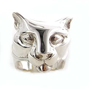 Rare Huge Heavy 24G Solid Sterling Silver Hand Carved Big Cat Ring Finger Sizes 8 to 13 Available