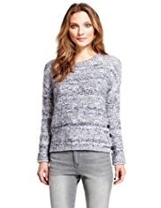 Indigo Collection Side Button Patchwork Jumper with Wool
