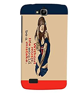 Fuson Girl with Text Back Case Cover for HUAWEI HONOR HOLLY - D3804