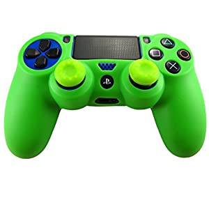 Pandaren Soft Silicone Skin for Ps4 Controller Set(green Skin X 1 + Thumb Grip X 2)