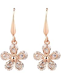 ISweven Rose Gold Color Color Flowers Cubic Zirconia Dangle 18k Gold Plated Fashion Jewelry Top Quality Anniversary...