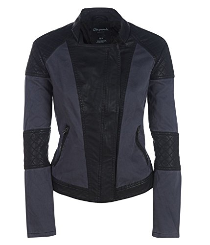 Aeropostale Womens Leather Canvas Colorblock Motorcycle Jacket 079 Xs