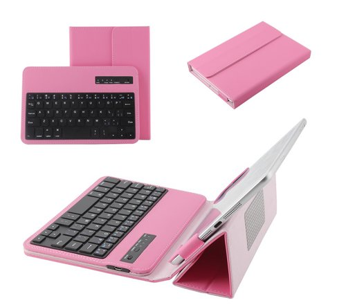 Tsmile® New Detachable Wireless Bluetooth Keyboard PU Leather Case Cover Stand Protective Skin for Verizon Ellipsis 7 MV7A Pink
