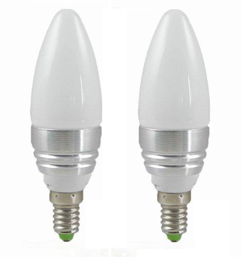 MENGS® 2 Stück E14 3W LED Blunt Tip Kerze Licht Birne SMD LEDs LED lampe Leuchtmittel mit Aluminium-Gehäuse & Glas-Abdeckung (Kaltweiß 5500-6500K, 240lm, Ø36 x 116mm, 200 Grad, 85V - 265V AC, Silber) Energiespar Lampe