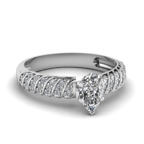 Fascinating Diamonds 1 Ct Pear Shaped Si1-D Color Diamond Rope Style Pave Set Engagement Ring 14K Gia