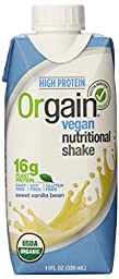 Orgain Plant-Based Organic Nutrition Shake, Sweet Vanilla Bean, 11 Ounce, 12 Count