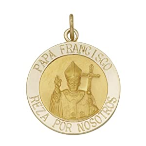Pope Francis Medal in 14Kt Yellow Gold (Spanish) 3/4 Inch 19mm