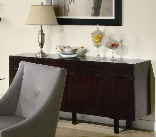 Cheap Server Sideboard Contemporary Style Cappuccino Finish (VF_102235)