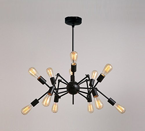 Aero Snail Creative Metal Pendant Light Vintage Black Barn Chandelier with 12 Lights Painted Finish 0