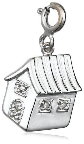 Sterling Silver Diamond House Charm