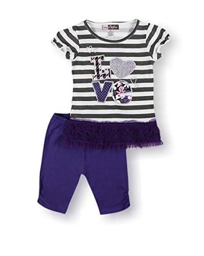 Sweet Doll Kid's Stripe Glitter Love Capri