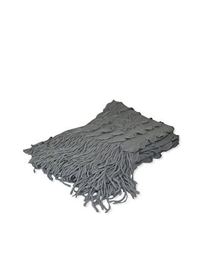 PÜR Cashmere Scallop Edge Throw, Silver Grey