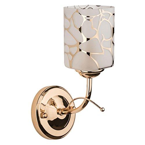 Applique mural style moderne élégante support en métal couleur cuivre plafonnier en verre avec le designe géométrique, applique salon cuisine ou chambre ampoule non-incl 1 x 60W E14 230 V