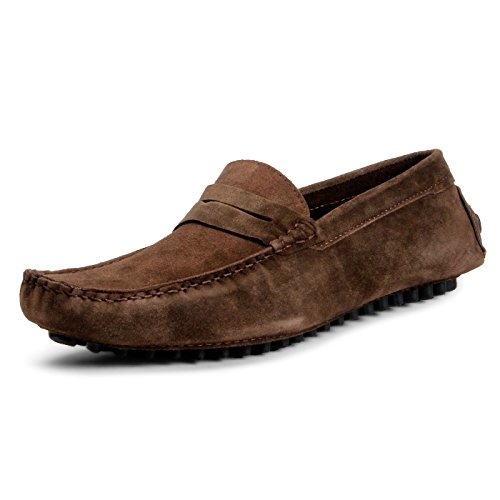 BACCA-BUCCI-MEN-BROWN-SUEDE-LEATHER-LOAFERS