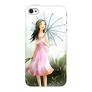 Ajay Enterprises Girl with Umbrella Back Case Cover for iPhone 4 4s