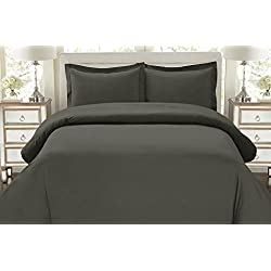1500 Thread Count Duvet Cover Set, 3pc Luxury Soft, All Sizes & Colors, King-Gray