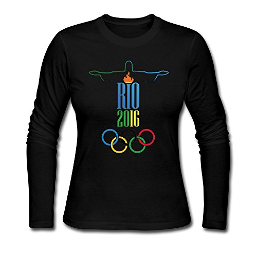 [Women's 2016 Rio De Janeiro Olympic Games Logo T-shirts Long Sleeve Black] (Hercules Costumes Ideas)