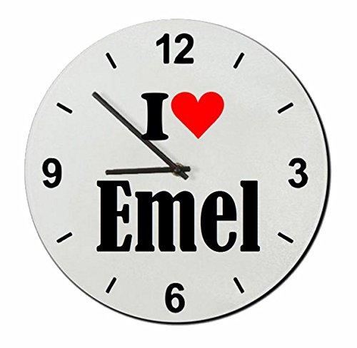 """ESCLUSIVO: Orologio Vetro """"I Love Emel"""" una grande idea regalo per il vostro partner, colleghi e molti altri! - Regalo di Pasqua, Pasqua, orologio, orologio, Regaluhr, regalo, Made in Germany."""