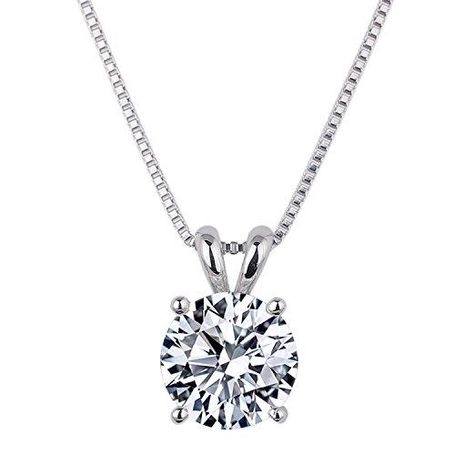 [ジュエリーキャッスル] Jewelry Castle 一粒 ネックレス 豪華 2カラット CZダイヤモンド ( キュービックジルコニア ) シルバー925 プラチナ仕上げ シルバー