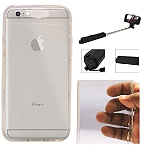 "DMG LED Flashing Call Notification TPU Back Cover Case for Apple iPhone 6 (4.7"") (White) + Wireless Bluetooth Selfie Stick with Image Zoom"