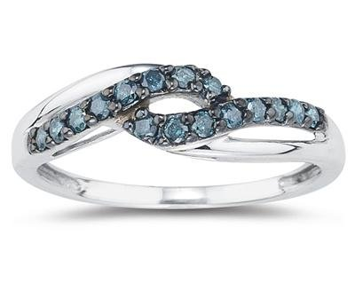 Blue Diamond Twist Ring in 10K White Gold