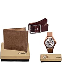Combo Pack Of Beige Denim Shade Wallet With Brown Belt With YuniiQ Tan Color Chronograph Wrist Watch.