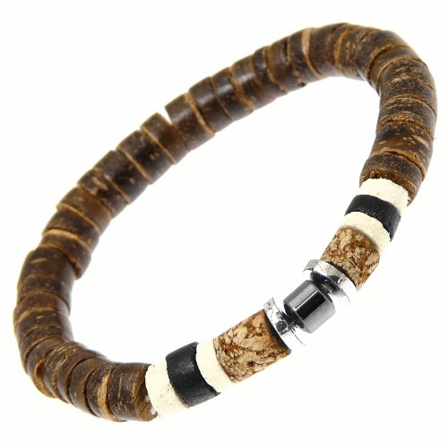 Beautiful Coco Wood & Hematite Bead Beads Surf Surfer Style Bracelet Wristband - C