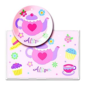 Best Quality Tea party Personalized Meal Time Plate Set By Olive Kids