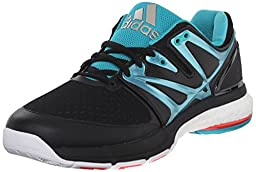 adidas Women\'s Stabil Boost Volleyball Shoe, Core Black/Sock Green/White, 7 M US