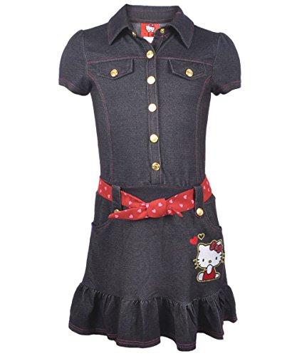 "Hello Kitty Big Girls' ""Heart Sash"" Dress - Dark Denim, 7 front-895201"