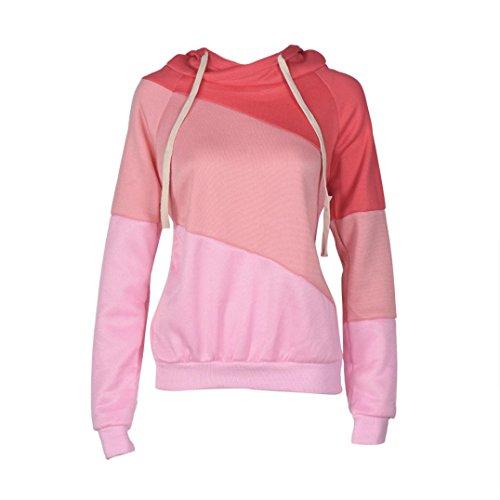 STHC Cappotto Pullover A Maniche Lunghe Felpa Maglione Con Cappuccio Da Donna (XL, Pink)