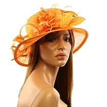 Classy Kentucky Derby Flowers Curled Leaf Feathers Bucket Church Hat Cap Orange