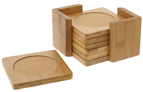 Juvale Drink Coasters - Bamboo - 6 Piece Set with Holder - 3.75 x 3.75 inches