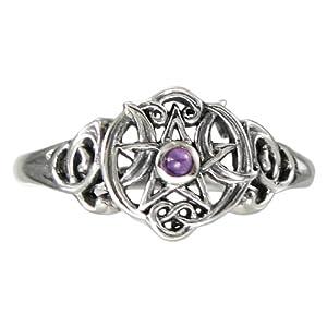 sterling silver pentacle pentagram wiccan ring