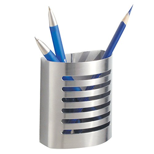 InterDesign AFFIXX, Peel and Stick Strong Self-Adhesive Pencil/Pen Cup for Locker, Office, Cabinet - Brushed Stainless Steel
