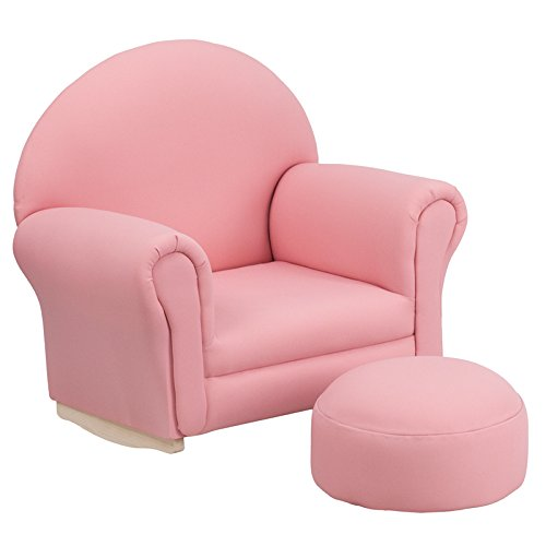 Kids Pink Fabric Rocker Chair and Footrest