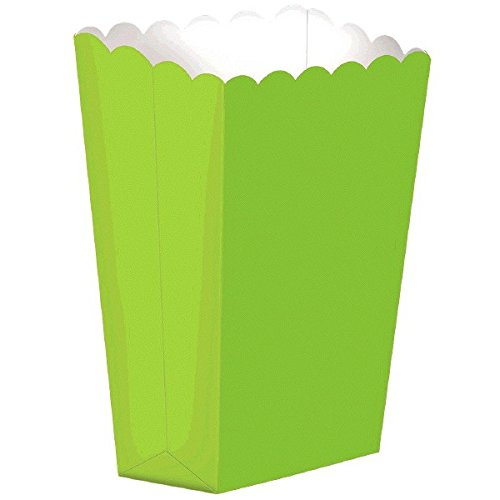 "Amscan Large Tall Popcorn Birthday Party Favor Box (10 Piece), 7"", Kiwi Green"