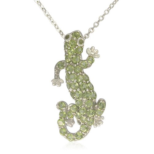 Sterling Silver Round-Shaped Peridot Gecko Pendant Necklace, 18.5