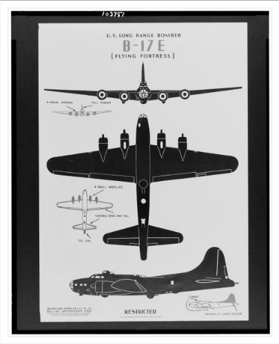 Historic Print (M): U.S. long range bomber B-17E [flying fortress]