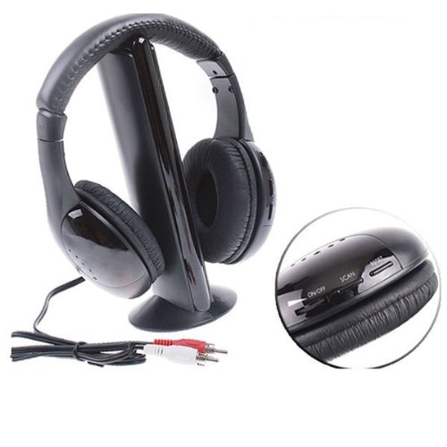Wireless Headphones 6+ Functions Black With Built In Microphone In Transmitter