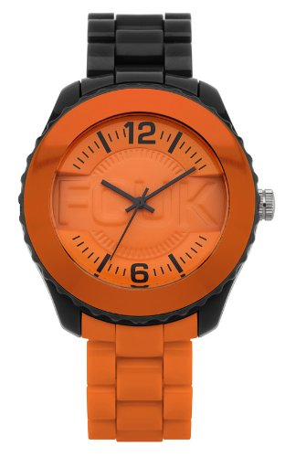 French Connection Unisex Quartz Watch with Orange Dial Analogue Display and Orange Plastic or PU Bracelet FC1128BO