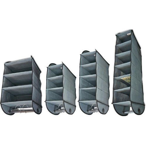 4-pack Hanging Closet Organzers (Gray Non-woven) with Rods for Hangers on the Bottom: 3-shelf Organizer (12
