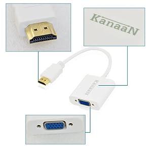 KanaaN HDMI to VGA Adapter Converter | KanaaN HDMI to VGA Cable | Resolutions up to 1080p