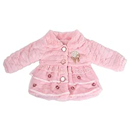Your Gallery Baby-Girl Infant Lace Pear Faux Fur Fluffy Warm Coat Hoodie Outwear, 12 pink