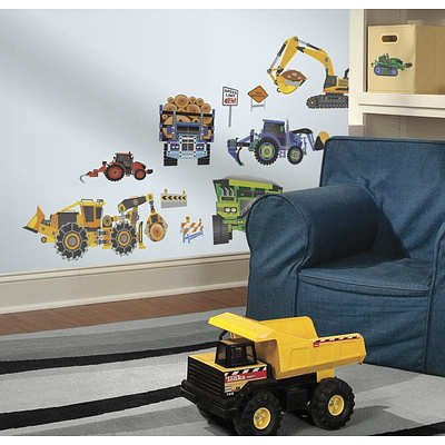 (10X18) New Speed Limit Construction Vehicles Peel & Stick Wall Decals